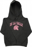 Youth Hoodie - Charcoal Grey with Pink Lettering